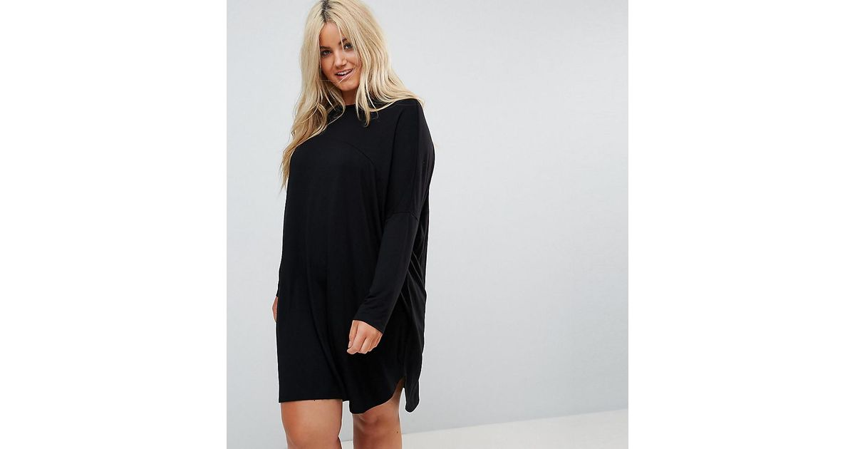 Lyst Asos Oversize T Shirt Dress In Black