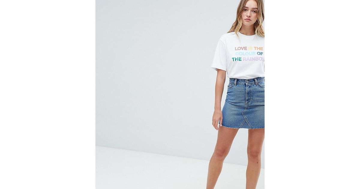 c5c1d3a1989 Lyst - Monki Denim Mini Skirt With Organic Cotton And Raw Edge In Mid Blue  in Blue