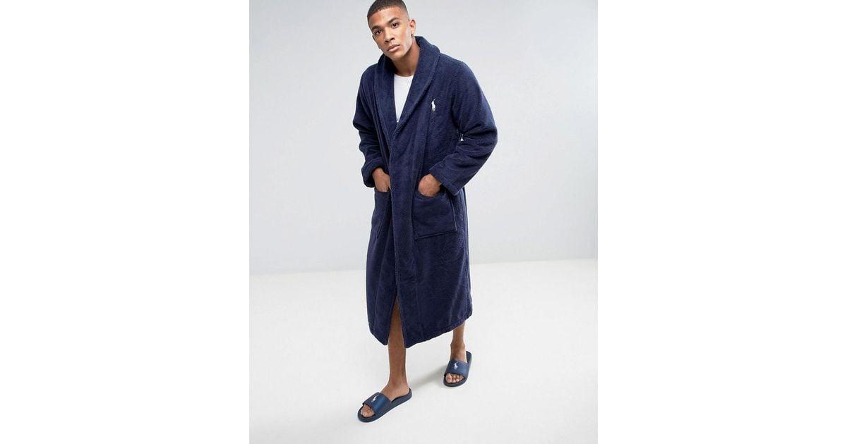 Polo Ralph Lauren Dressing Gown Robe In Navy in Blue for Men - Lyst