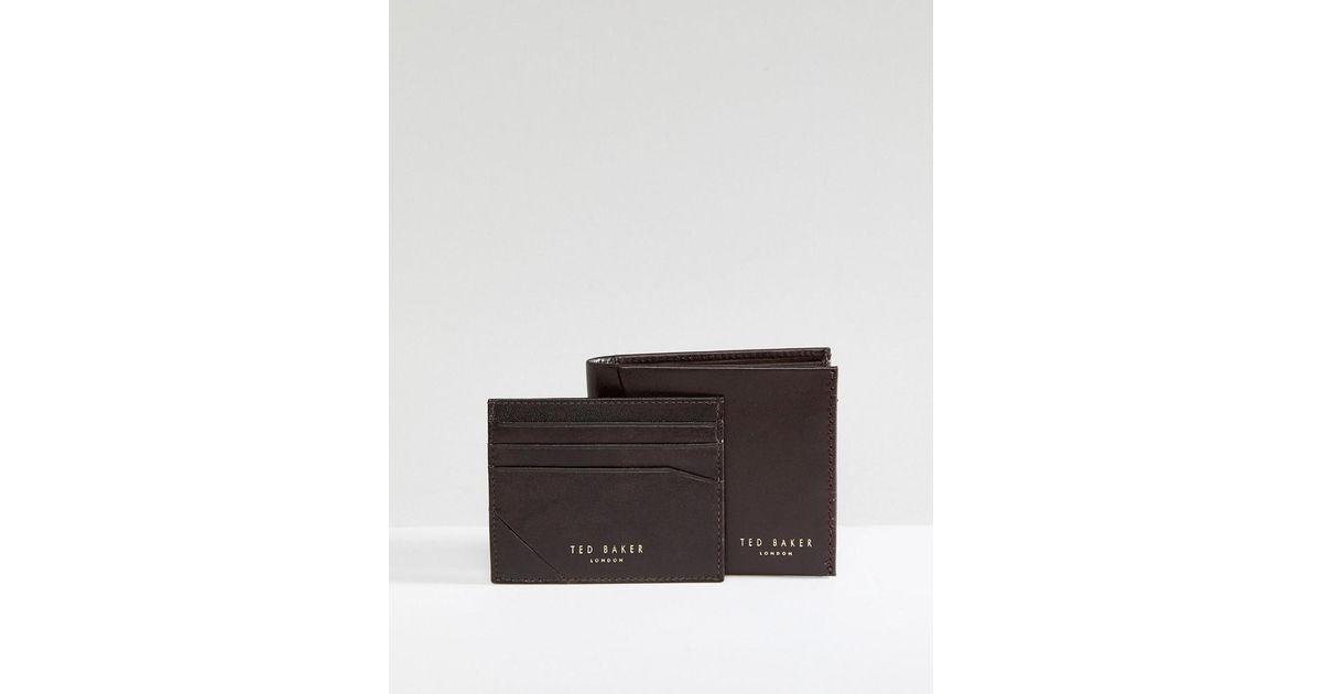 32b1dc81b00793 Ted Baker - Brown Twixxle Wallet   Cardholder Gift Set for Men - Lyst