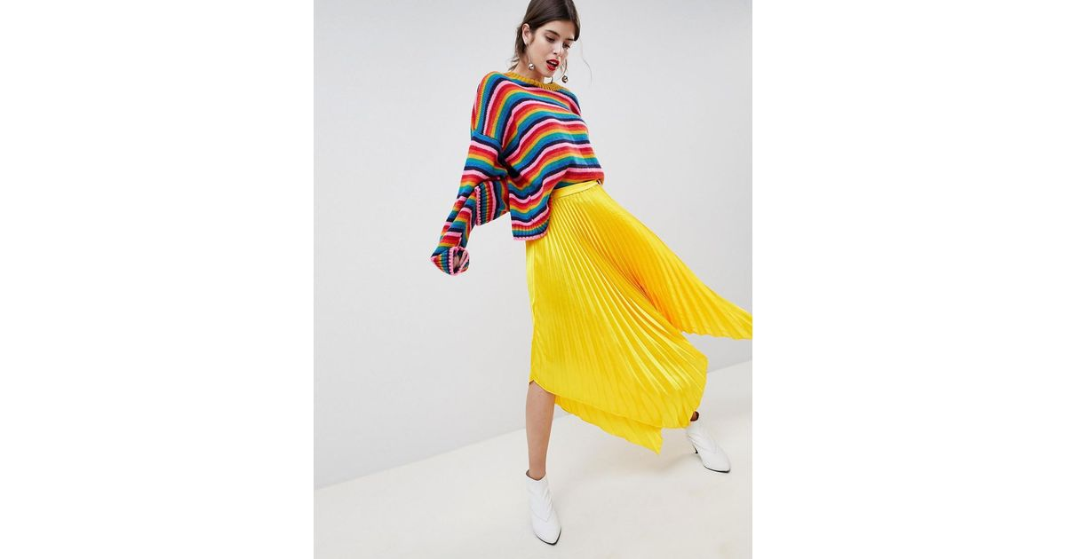ff5c69c5a9 ASOS Satin Pleated Midi Skirt With Hanky Hem in Yellow - Lyst