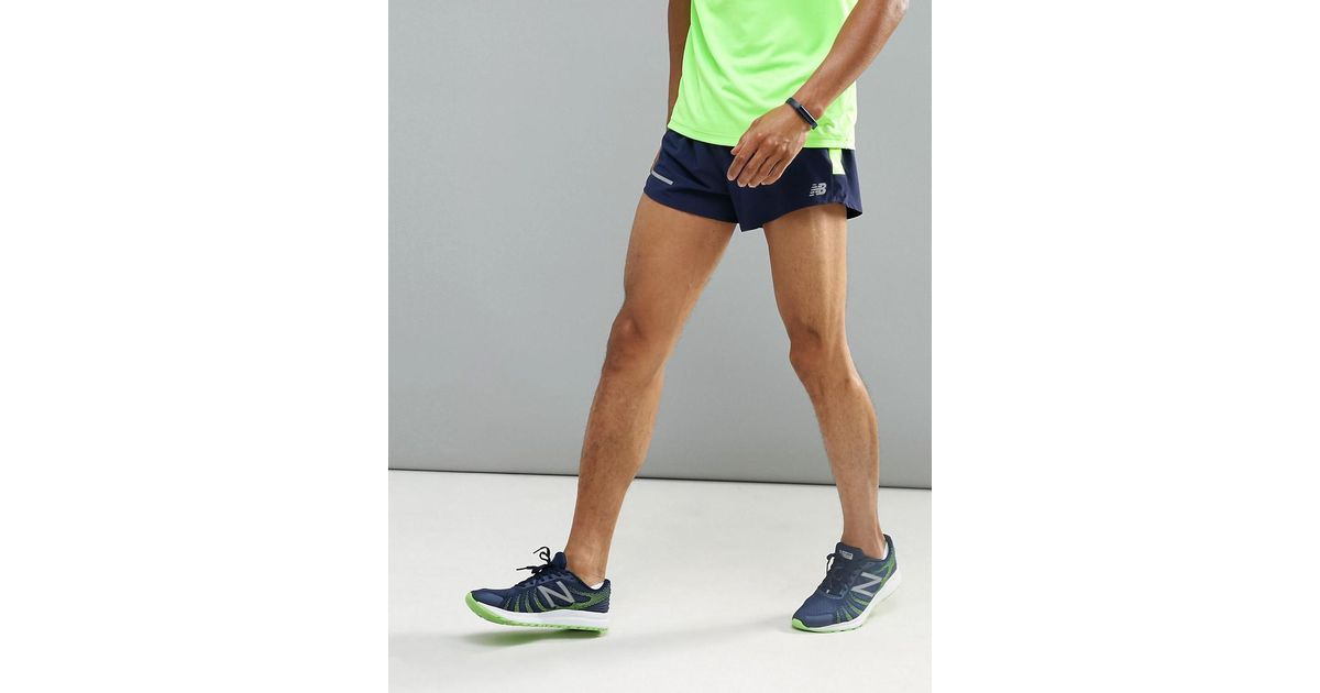 96c8894c79029 New Balance Running Impact 3 Inch Split Shorts In Navy Ms61231pgm in Blue  for Men - Lyst