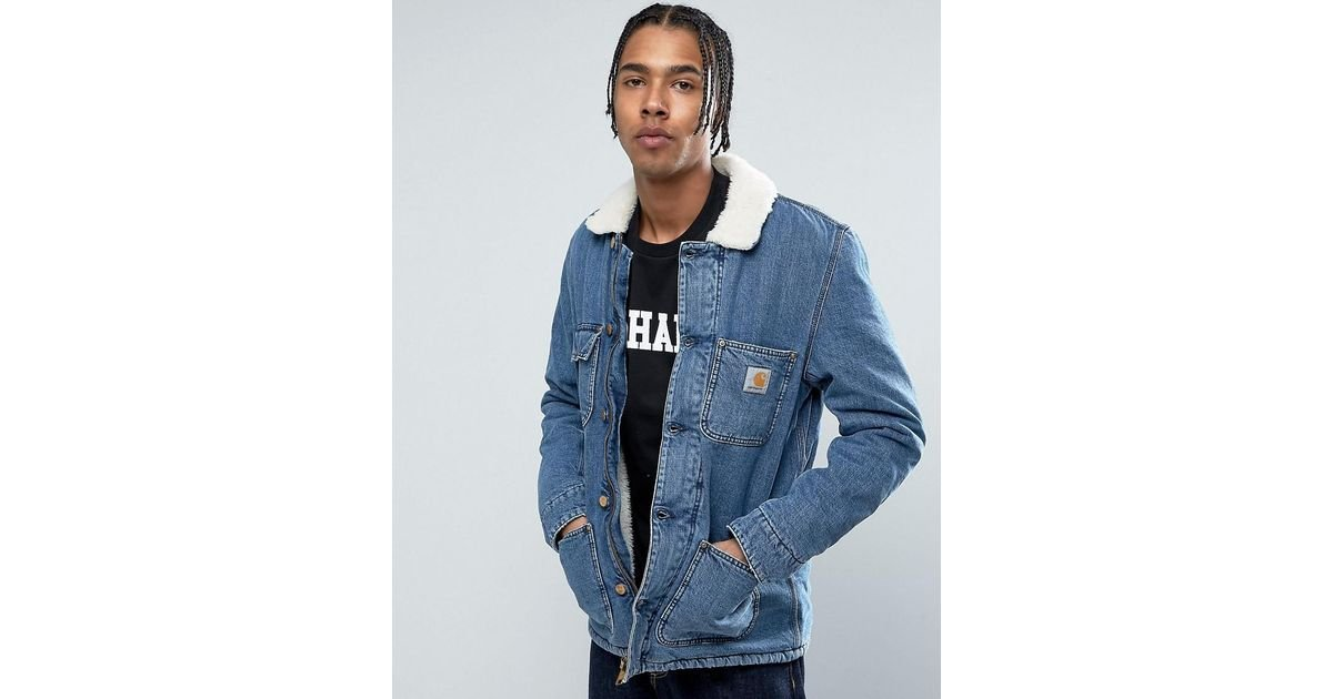 ad5a8ad53ab9e Carhartt WIP Denim Phoenix Jacket With Faux Shearling Collar in Blue for Men  - Lyst