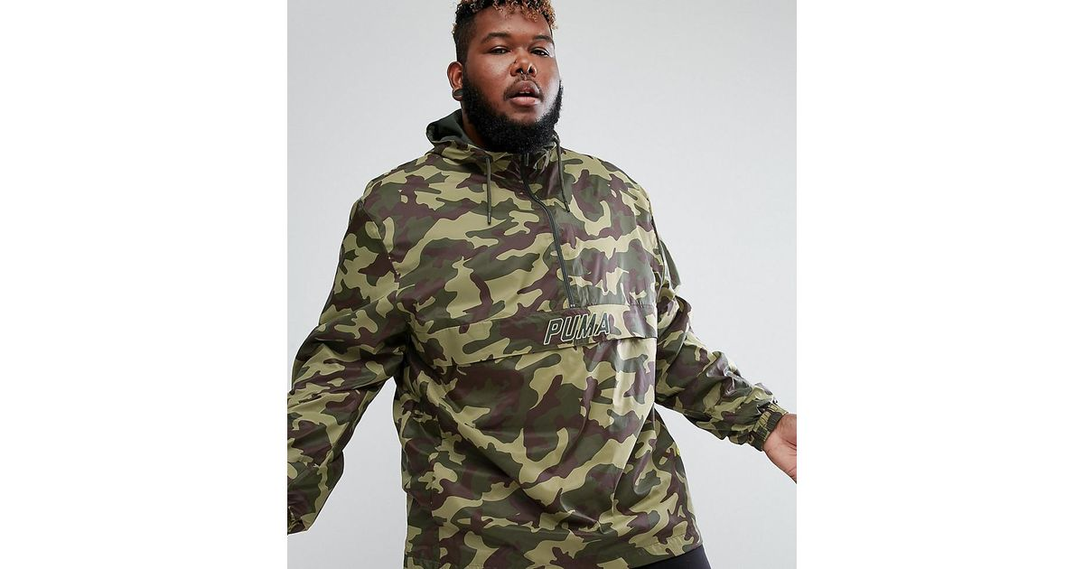 8facd023649af PUMA Plus Pullover Windbreaker In Camo Print In Green Exclusive To Asos  57663601 in Green for Men - Lyst