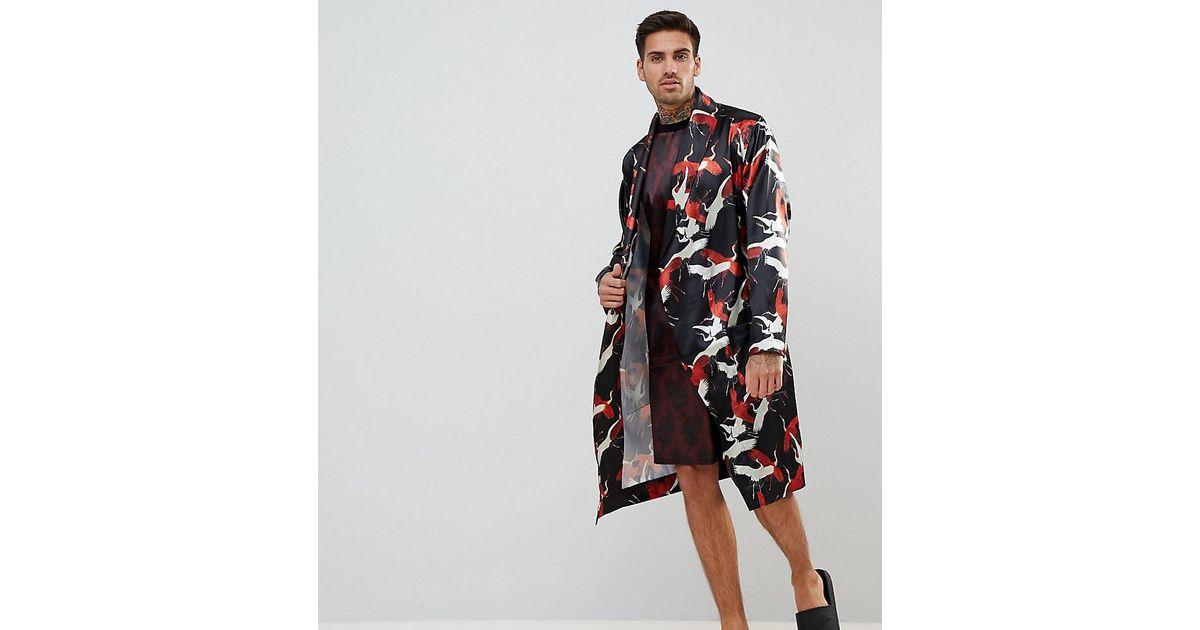 Asos Satin Dressing Gown In Swan Print in Black for Men - Lyst