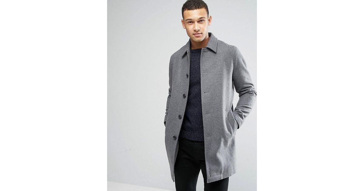 4058f395d4bb ASOS Wool Mix Trench Coat In Light Gray Marl in Gray for Men - Lyst