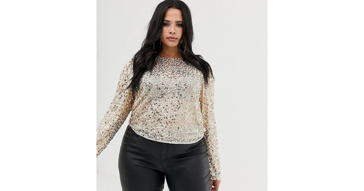5fc63b59f1c ASOS - Metallic Asos Design Curve Long Sleeve Top With Sequin Embellishment  - Lyst