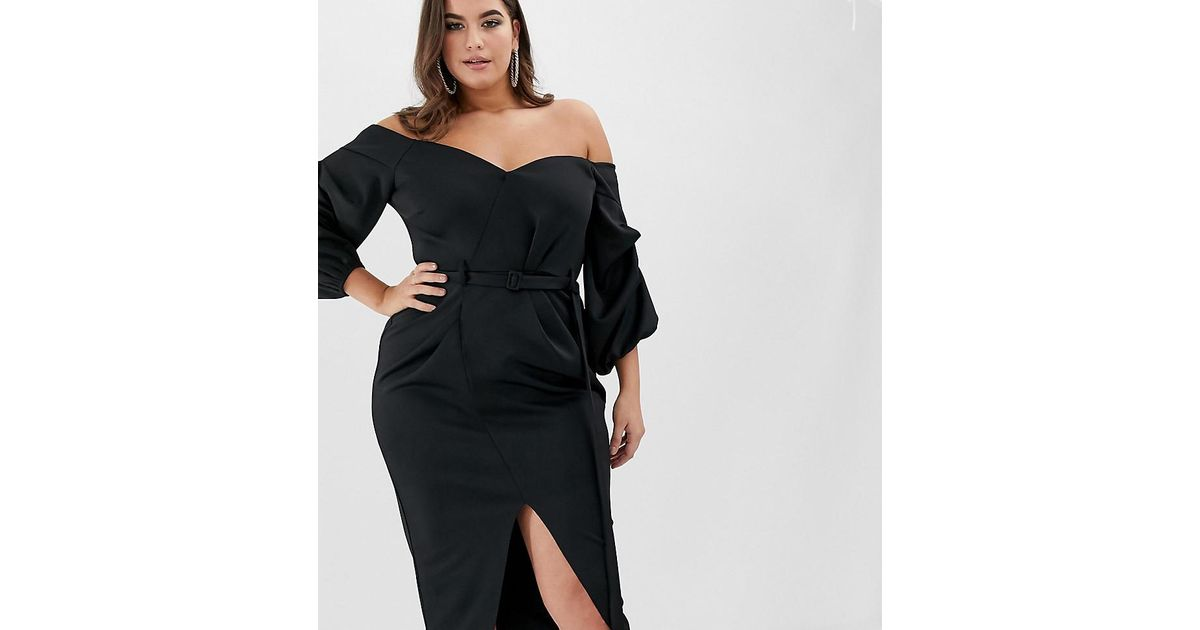 08af1849e2ce ASOS Asos Design Curve Bardot Belted Balloon Sleeve Midi Dress in Black -  Lyst