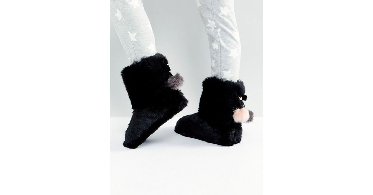 4886d5e2cdd9 Lyst - Ted Baker Hamond Faux Fur Bootie Slippers in Black
