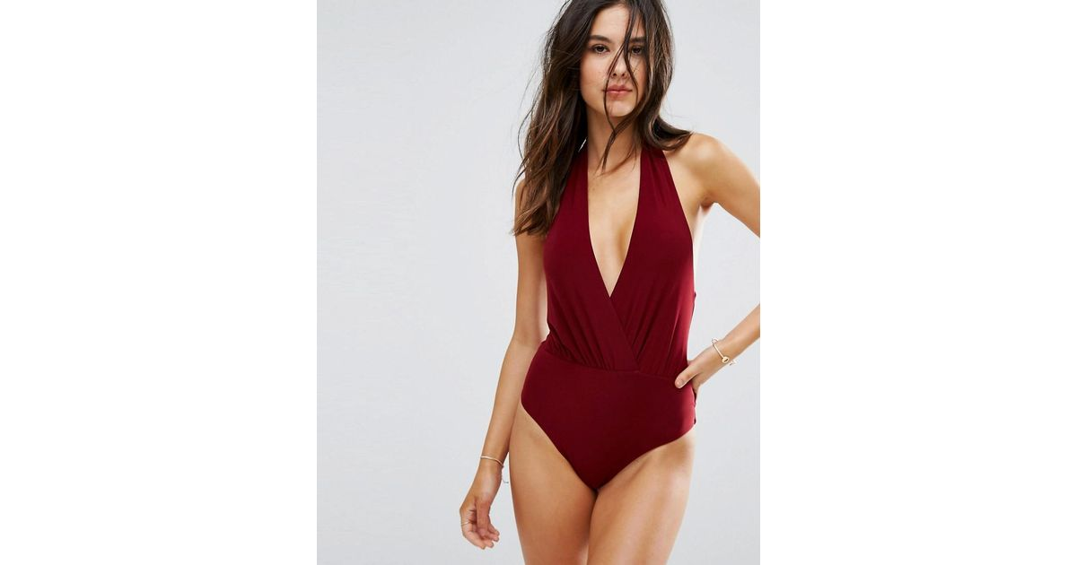 37f7110113 Goddiva Simple Wrap Over Swimsuit in Red - Lyst