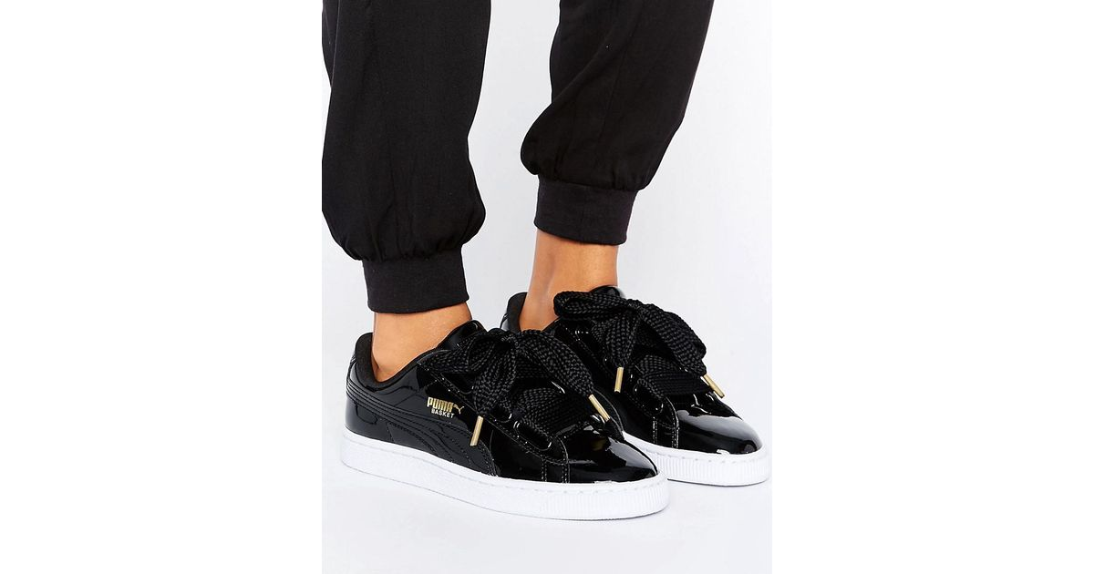 f0961c48ad4 Lyst - PUMA Basket Heart Trainers In Patent Black in Black