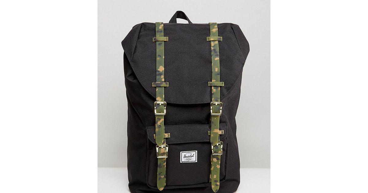 b376d543c5 Lyst - Herschel Supply Co. . Exclusive Little America Backpack With Camo  Straps in Black