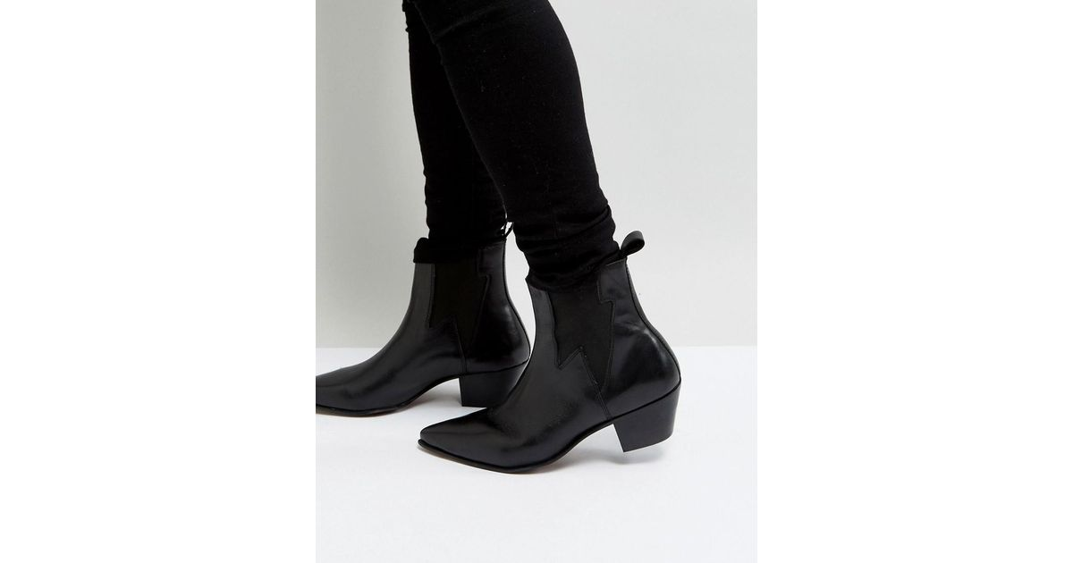 ASOS Cuban Heel Boots In Black Leather With Lightening Detail newest online cheap sale shop offer Cheapest buy cheap many kinds of cheap sale for nice pwVOhz