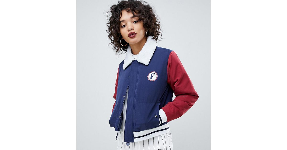 ce48eacaa56f Fila Retro Trucker Jacket With Back Logo And Shearling Collar in Blue - Lyst