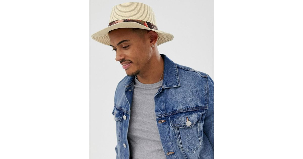 4987b7018 ASOS - Natural Wide Brim Straw Pork Pie Hat With Paisley Band Detail for  Men - Lyst