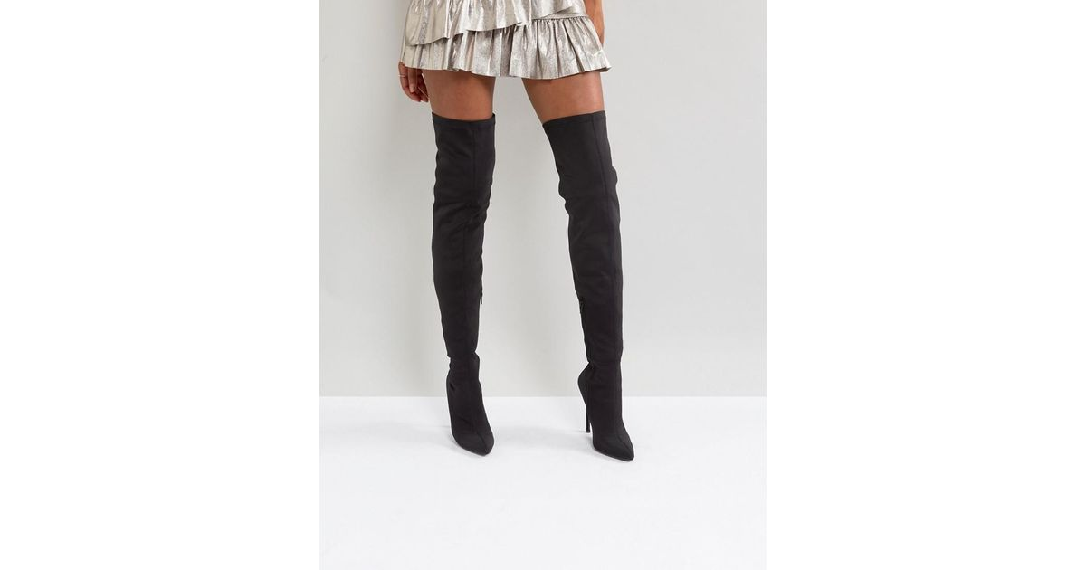 cc73fd2c8872 Truffle Collection Thigh High Stiletto Boot in Black - Lyst