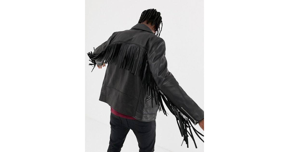 81b390dd42c25 Lyst - ASOS Leather Biker Jacket With Tassel Detail In Black in Black for  Men