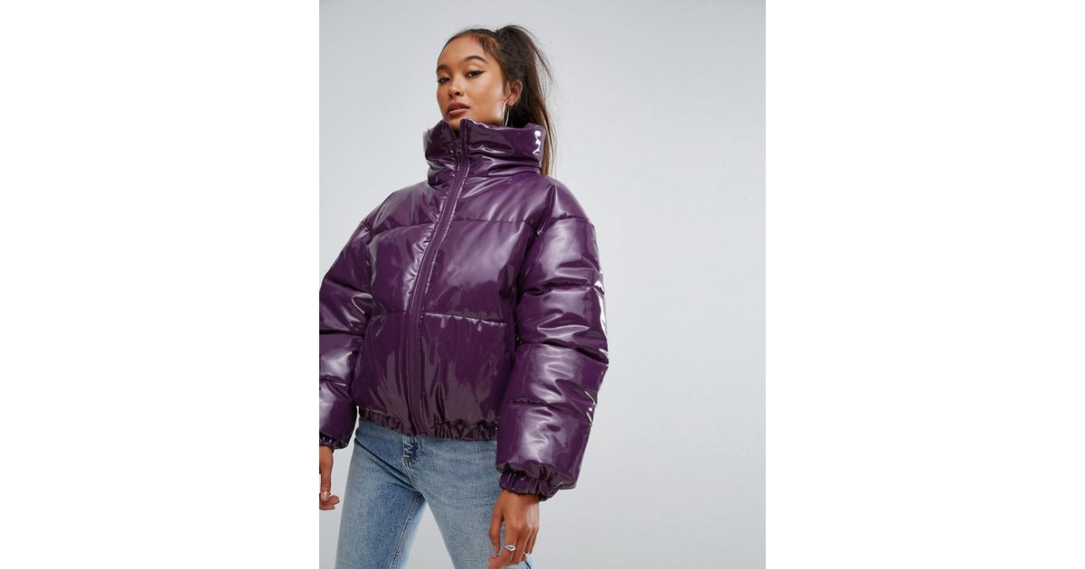 Lyst - ASOS Asos High Shine Patent Puffer Jacket in Purple a5cf088d1