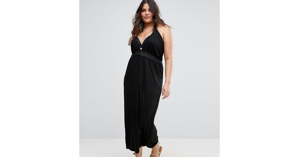 33ad6591aaeb Lyst - Boohoo Crochet Plunge Beach Maxi Dress in Black