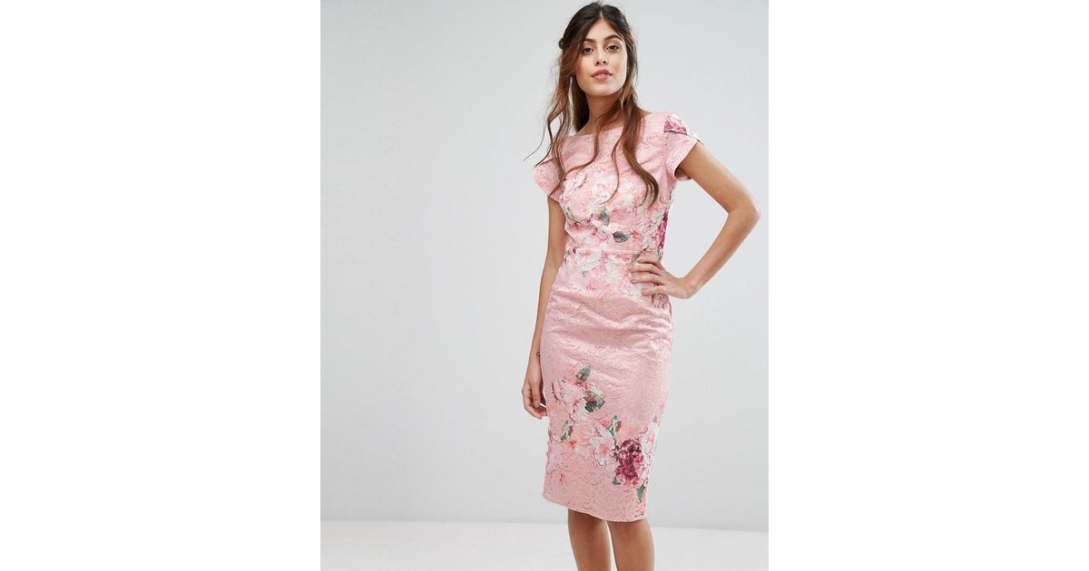 Lyst - Little Mistress Lace Midi Pencil Dress In Floral in Pink