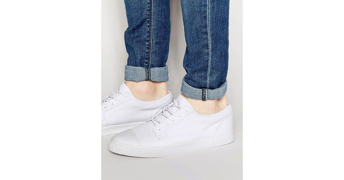 Lyst - Asos Lace Up Plimsolls In White Canvas With Toe Cap in White for Men