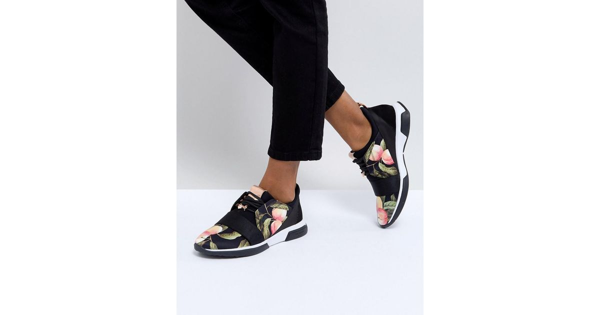 a7f61b10ce9b Lyst - Ted Baker Cepap Peach Blossom Print Trainers in Black