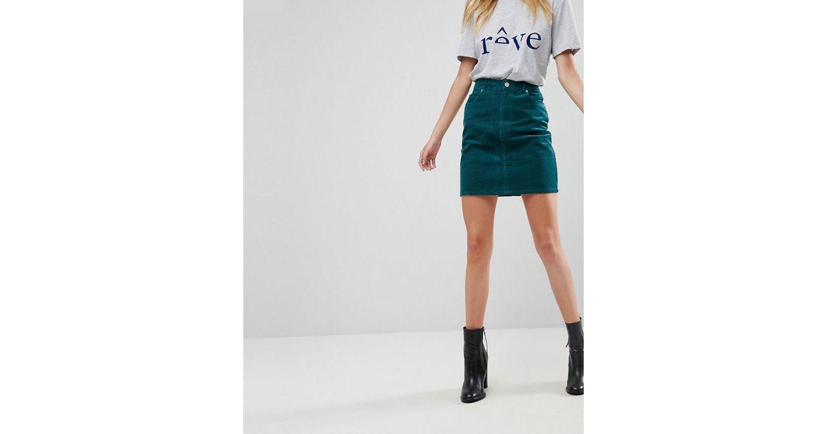 d9e5034aff35 ASOS Cord Original Skirt In Emerald Green in Green - Lyst