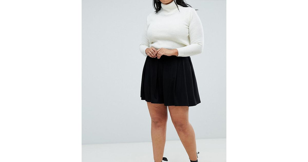949dc563aa6 Asos Asos Design Curve Mini Skirt With Box Pleats in Black - Lyst
