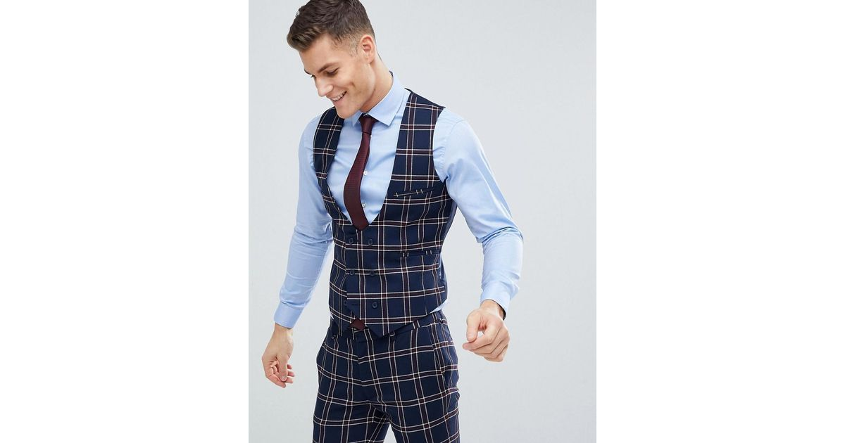 53f6ea500 Lyst - ASOS Wedding Super Skinny Suit Waistcoat In Navy Waffle Check in  Blue for Men