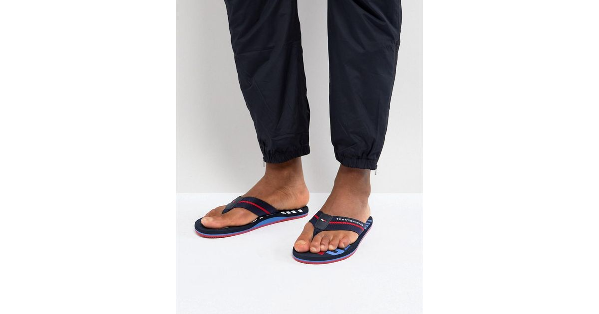 sale clearance store cheap wiki Tommy Hilfiger Bold Stripe Logo Webbing Flip Flops in Navy outlet high quality m27Ly6P