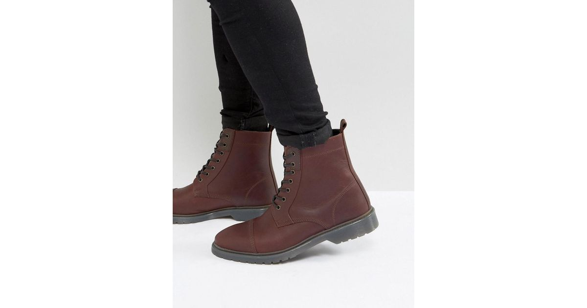 ASOS Wide Fit Lace Up Boots In Burgundy Leather With Ribbed Sole 1dIIDdn9Ry
