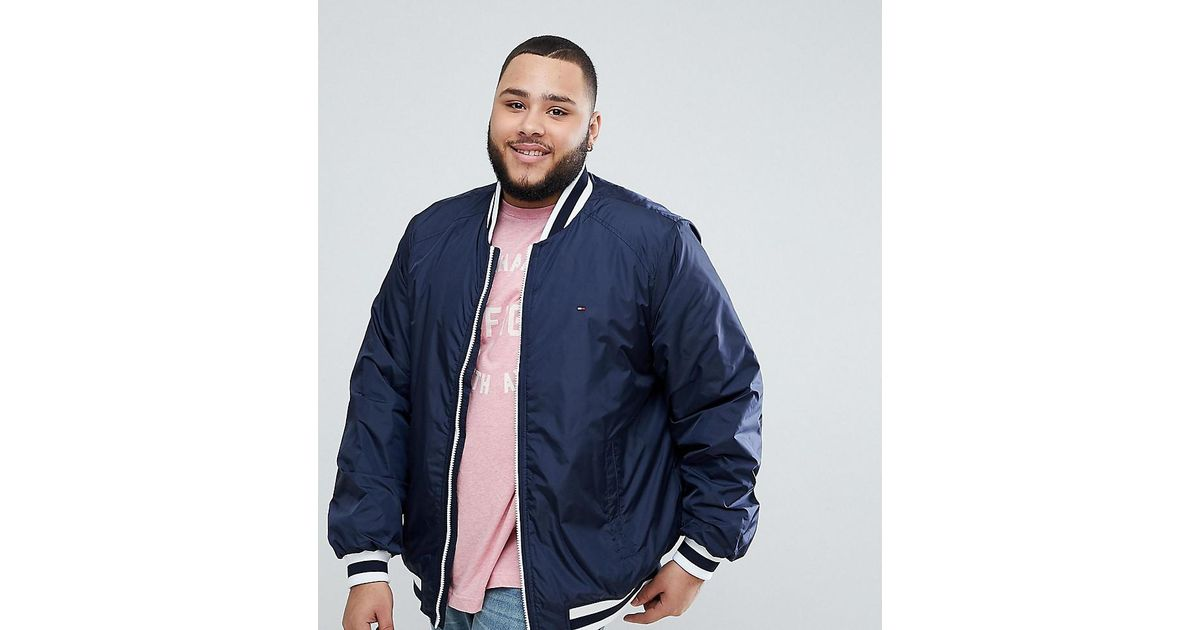 dd1892c2aaa0f Lyst - Tommy Hilfiger Big   Tall Keon Bomber Jacket Stripe Cuff Flag Logo  In Navy in Blue for Men