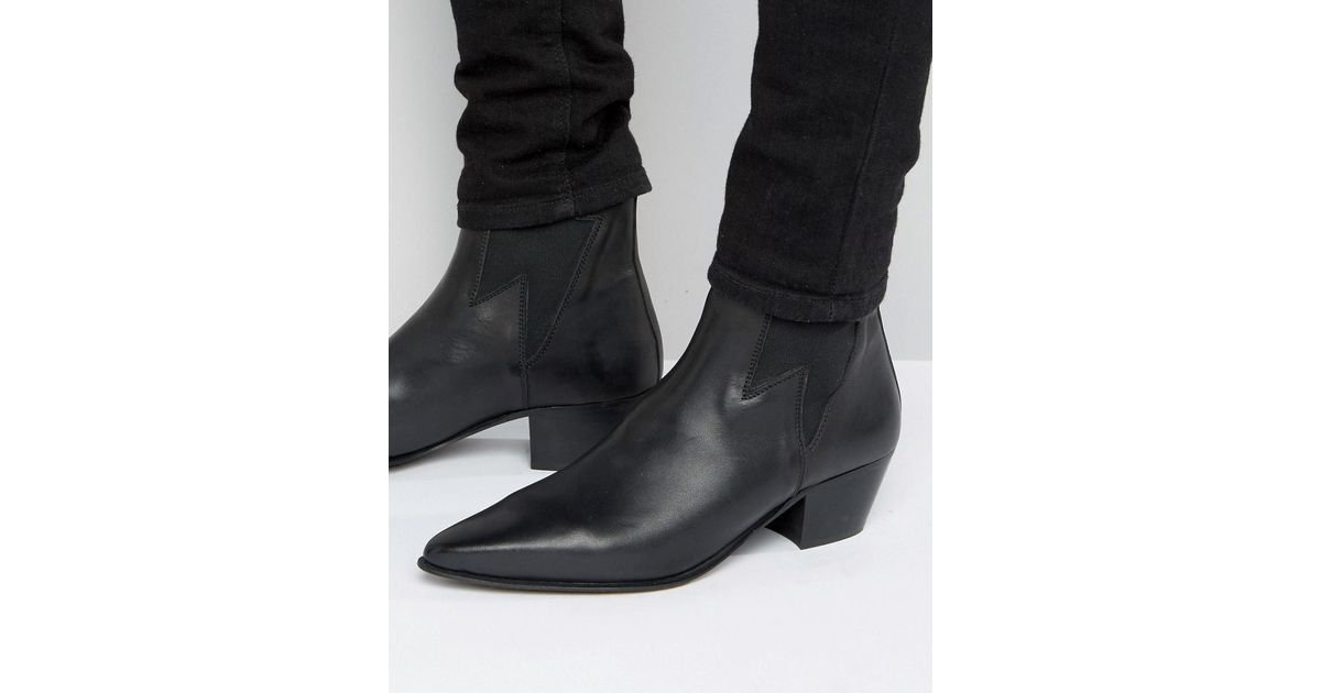 b78fc1a48663 ASOS Cuban Heel Boots In Black Leather With Lightening Detail in Black -  Lyst