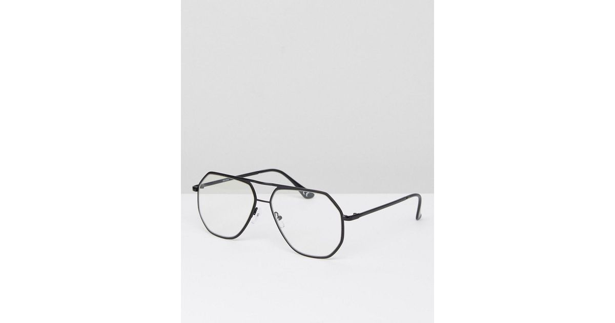 7099e8ce2181 ASOS Angled Aviator Glasses In Black Metal With Clear Lens in Black for Men  - Lyst