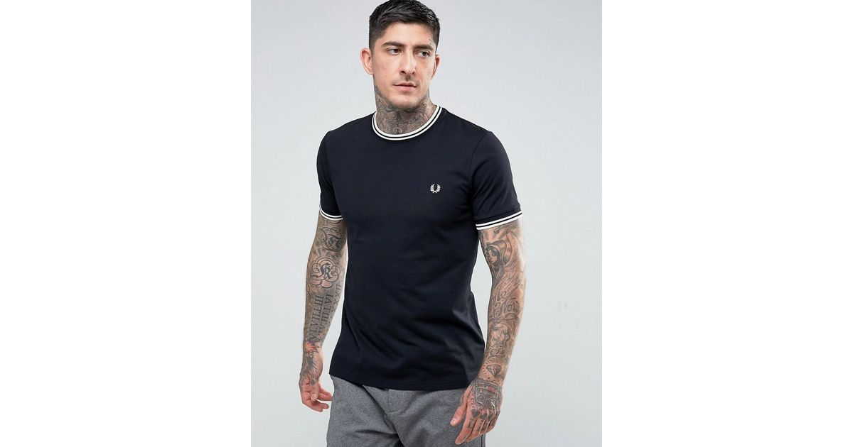 bfb505d6cdb9c Lyst - Fred Perry Slim Fit Twin Tipped Ringer T-shirt In Black in Black for  Men