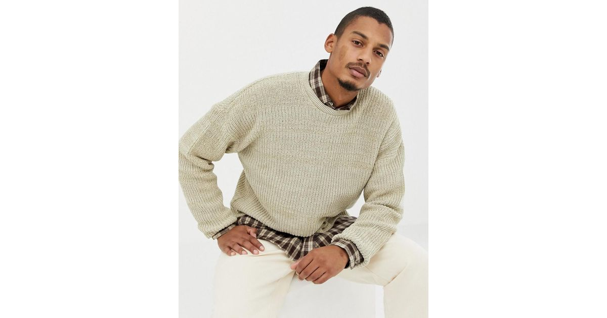 40e71e2393e Lyst - ASOS Asos Relaxed Fit Sweater In Oatmeal in Natural for Men