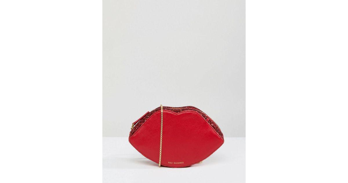 379b679dc Lulu Guinness Red Glitter Lips Cross Body Bag in Red - Lyst