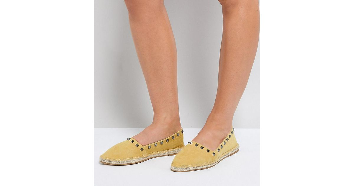 JISELLE Wide Fit Point Studded Espadrilles - Yellow Asos Sale Recommend Real Online Free Shipping Fake Pay With Paypal For Sale For Nice For Sale neLXhEm45g