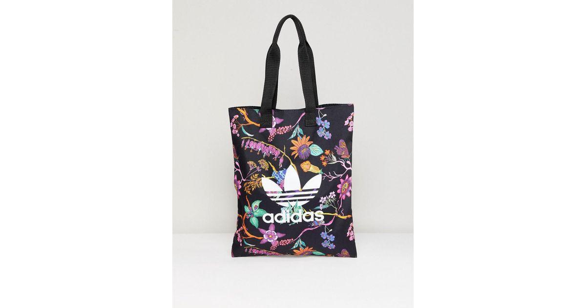 a8135678761 adidas Originals Floral Print Reversible Tote Bag in Black - Lyst