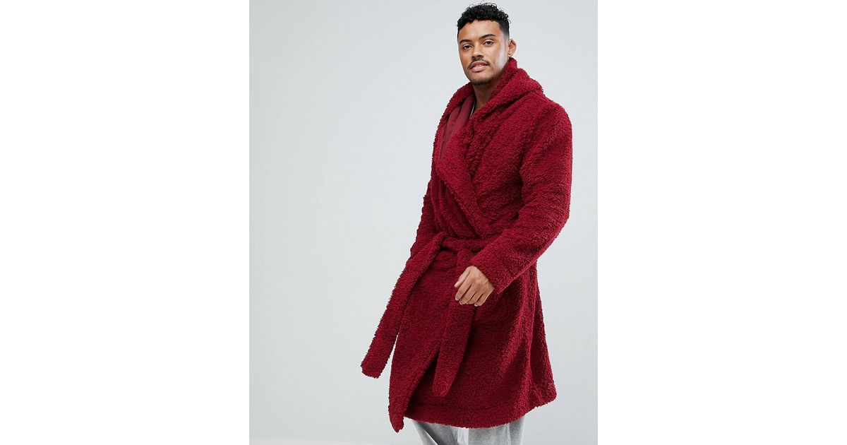 Lyst - Asos Borg Hooded Dressing Gown in Red for Men