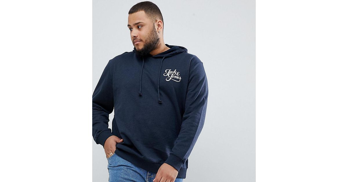 Lyst - Jack   Jones Originals Plus Size Hoodie With Chest Branding in Blue  for Men 8a6f43a45b