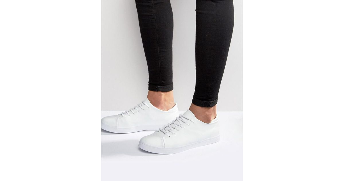 3ffa40bbf Asos Lace Up Trainers In White With Toe Cap in White for Men - Lyst