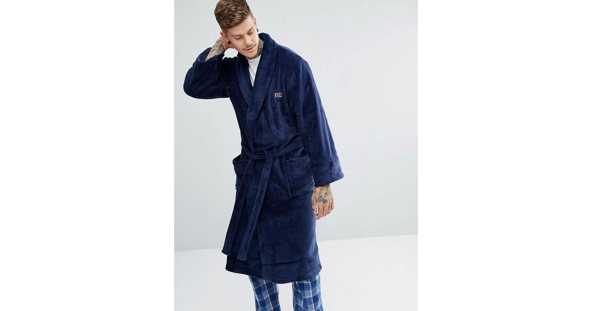 Ben Sherman Fleece Robe in Blue for Men - Lyst