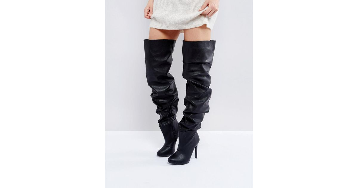 440570a1cfa9 Public Desire Black Slouch Over The Knee Boots in Black - Lyst