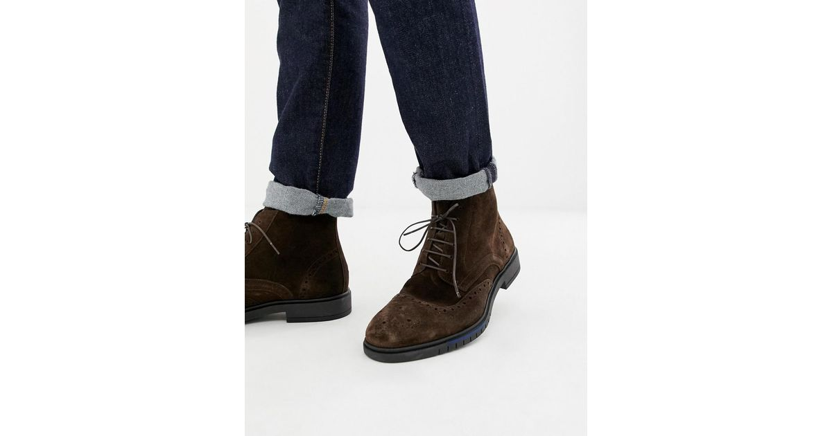 63ac8df69 Tommy Hilfiger Flexible Dressy Brogue Suede Boot In Brown in Brown for Men  - Lyst