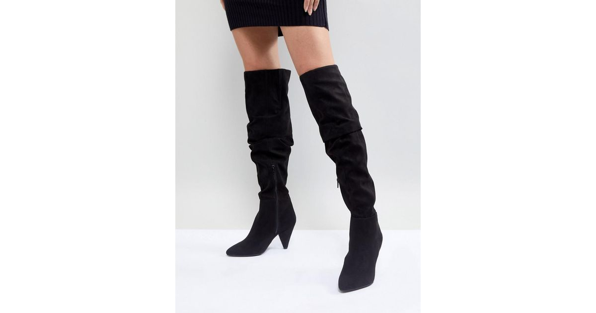 Miss Selfridge Over The Knee Ruched Boot TFxAQ8Qxh