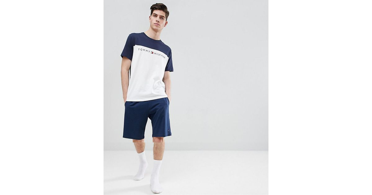 079e7eb8c Tommy Hilfiger Icon Lounge Set Shorts & T-shirt In Navy/white in Blue for  Men - Lyst
