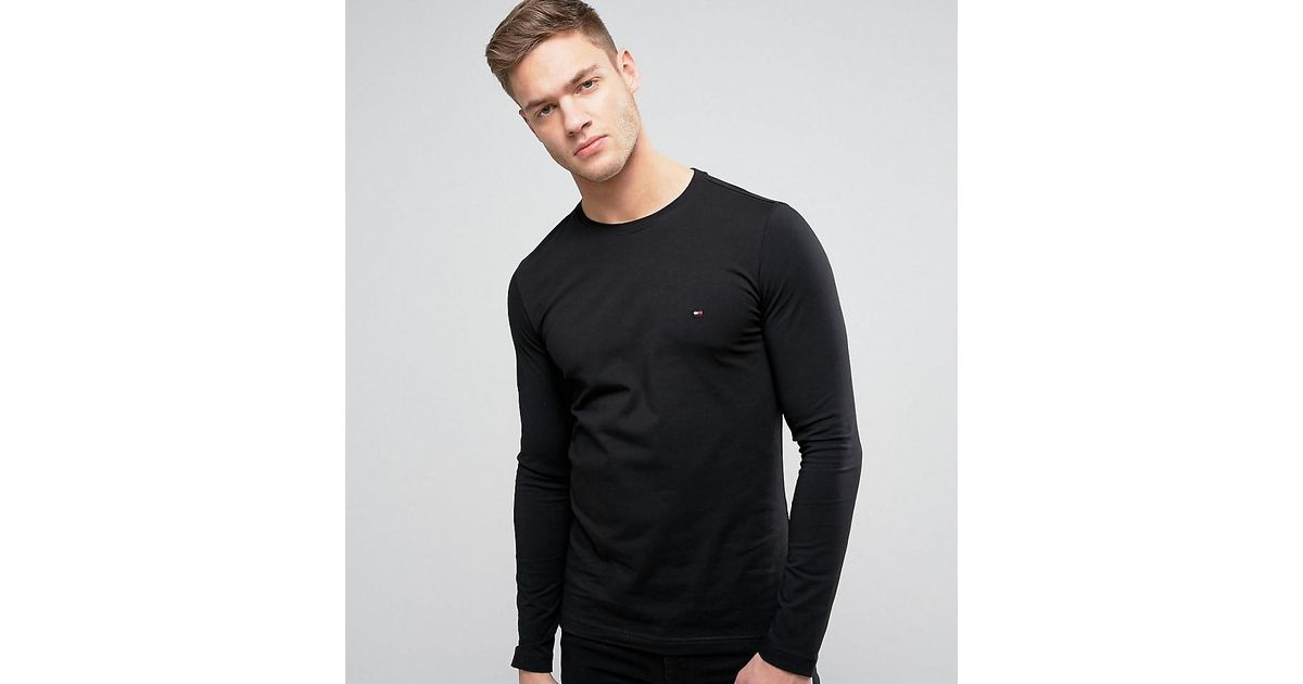 dd6d9a5a34ba Lyst - Tommy Hilfiger Long Sleeve Top Flag Logo In Black Exclusive At Asos  in Black for Men