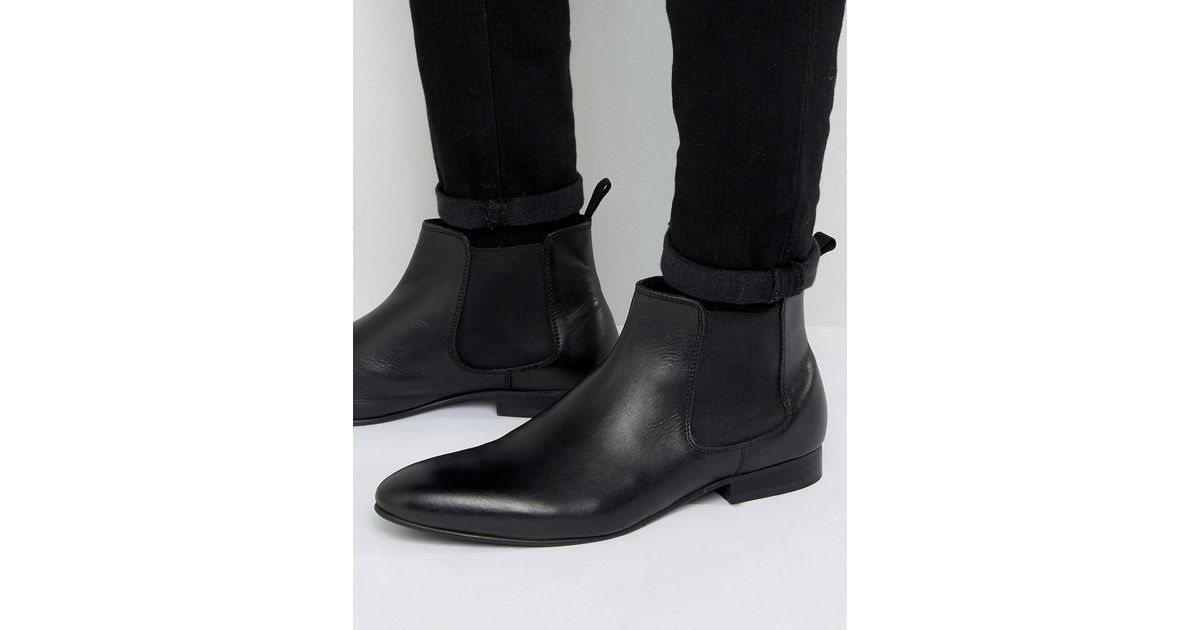1e919ea5268bc Dune Chelsea Boots In Black Leather - Image and Photo Boots ...