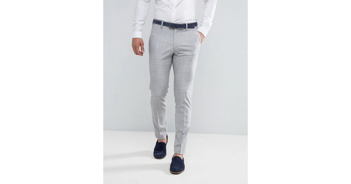 WEDDING Skinny Suit Trouser in Crosshatch Nep - Light blue Asos 50Y9Ab2yEa